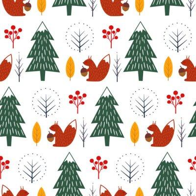 Fototapete Eichhörnchen im Wald nahtlose Muster auf weißem Hintergrund. Weihnachten skandinavischen Stil Natur Illustration. Netter Winterwald mit Tierentwurf für Gewebe, Tapete, Gewebe.