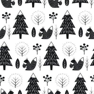 Fototapete Eichhörnchen im Wald nahtlose Muster. Schwarz-Weiß-skandinavischen Stil Natur Illustration. Netter Winterwald mit Tierentwurf für Gewebe, Tapete, Gewebe.