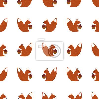 Fototapete Eichhörnchen mit Eichel nahtlose Muster auf weißem Hintergrund. Nette Karikaturbabytierabbildung. Herbst Design für Stoff, Textil, Dekor.