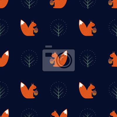 Fototapete Eichhörnchen mit Eichel und dekorativen Baum nahtlose Muster auf dunkelblauem Hintergrund. Nette Karikaturtierabbildung. Design für Stoff, Textil, Dekor, Tapeten.