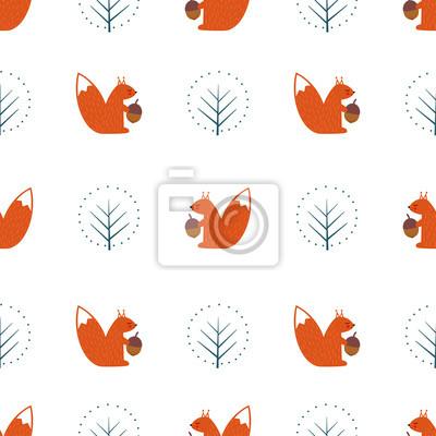 Fototapete Eichhörnchen mit Eichel und dekorativen Baum nahtlose Muster auf weißem Hintergrund. Nette Karikaturtierabbildung. Design für Stoff, Textil, Dekor.