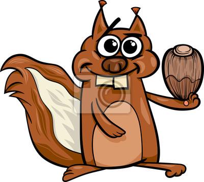 Eichhörnchen Mit Nuss Cartoon Abbildung Fototapete Fototapeten