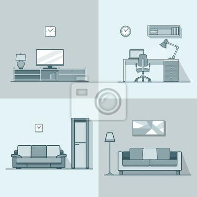 Fototapete Eigentumswohnung Unterkunft Wohnzimmer Gemütliche Moderne  Minimalismus Minimal Interior Innen Set. Lineare Strich