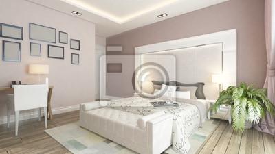 Ein 3d-rendering der modernen schlafzimmer mit rosa wand fototapete ...