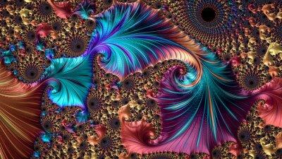 Fototapete Ein abstrakter computererzeugter Fractalentwurf. Ein Fraktal ist ein nie endendes Muster. Fraktale sind unendlich komplexe Muster, die auf verschiedenen Skalen selbstähnlich sind.