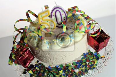 Ein Bild Von Einem Geburtstagskuchen 50 Geburtstag Fototapete