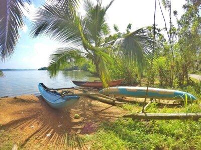 Fototapete Ein blaues Katamaran liegt an einem traumhaften Strand auf der Tropeninsel Sri Lanka