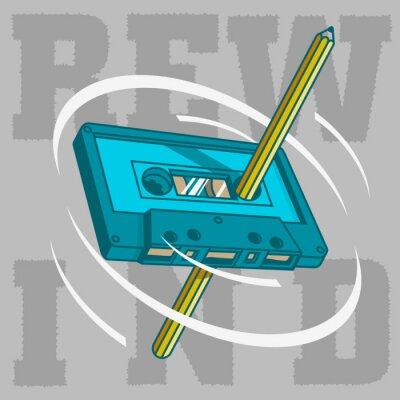 Ein Bleistift Pass Durch Die Tape-Kassette Und Spin Manuell