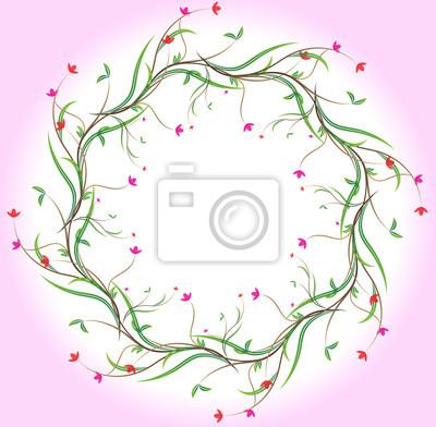 Ein Blumenrand mit Blumen und Blätter