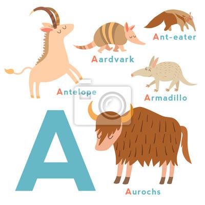 Ein Brief Tiere gesetzt. Englisches Alphabet. Vektor-Illustration, isoliert auf weißem Hintergrund