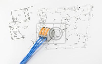 Ein drahtverbinder, der auf der leitweglenkungsschaltung angeordnet ...