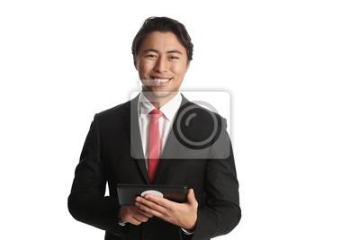 Ein Gut Aussehender Geschaftsmann Tragt Einen Schwarzen Anzug