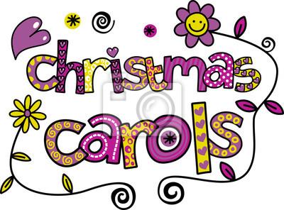 Ein handgezeichneter doolde Karikaturtext, der CHRISTMAS CAROLS sagt.