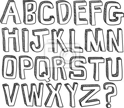 Ein handgezeichnetes Set von englischen Alphabet Buchstaben in schwarz und weiß.