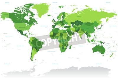Fototapete Ein hoher Detail-Vektor-Karte der Welt in den Farben grün. Alle Länder sind mit dem jeweiligen englischen Namen benannt.