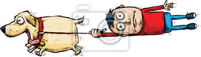 Fototapete Ein Karikaturmann, der von seinen Füßen durch einen aufgeregten, laufenden Haustierhund abgezogen wird.