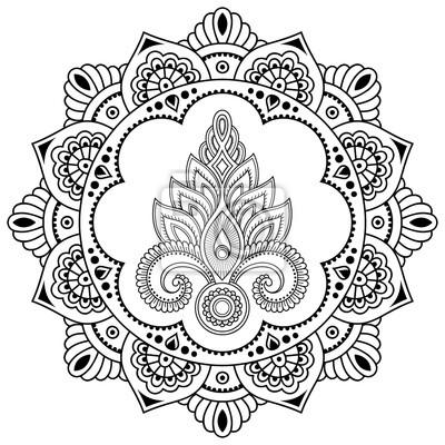 Ein Kreisförmiges Muster In Form Eines Mandala Henna Tattoo