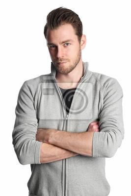f75fb8492605 Fototapete Ein Mann in seinem 20s tragen ein graues Hemd stand vor einem weißen  Hintergrund suchen