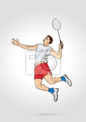 Ein Profi-Badminton-Spieler-Springen