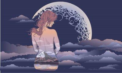 Fototapete Ein romantisches Mädchen sitzt auf dem Hintergrund des Mondes. Body Art Mädchen, Körper mit Landschaft gemalt. Romantisches Mädchen auf dem Hintergrund des Mondes und des Sternhimmeltätowierungs- und
