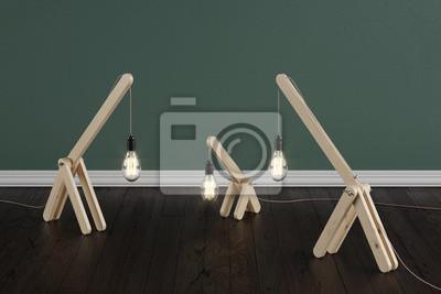 Fußboden Schlafzimmer Lampen ~ Ein satz der handgemachten hölzernen lampen im raum auf einem