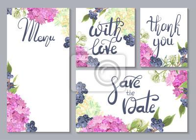 Ein Satz Hochzeitskarten Mit Schonen Blumen Von Hortensien Und