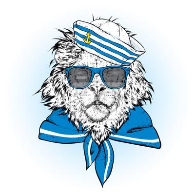 653c2b161c0ae Fototapete Ein schöner Löwe in der Kleidung des Seemanns. Vektor-Illustration.  Tier in