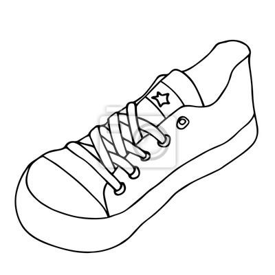 Ein Schuh Isoliert Auf Weissem Hintergrund Hand Gezeichnete