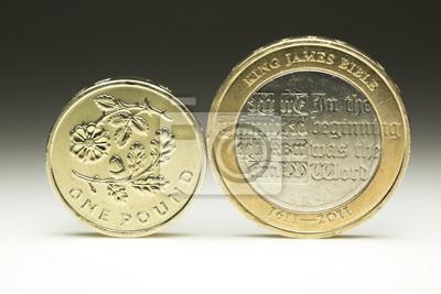 Ein Und Zwei Britische Pfund Münzen Ausgleichs Seite An Seite