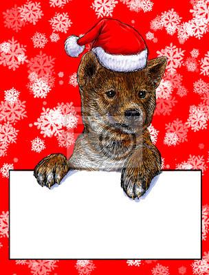 Ein welpe weihnachten auf rotem schnee hintergrund illustration ...