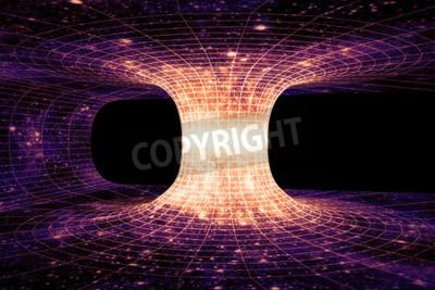 Fototapete Ein Wurmloch oder Einstein-Rosen-Brücke ist eine hypothetische Abkürzung, die zwei getrennte Punkte in der Raumzeit verbindet.