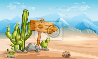 Ein Zeichen aus Holz in der Wüste Berge im Hintergrund