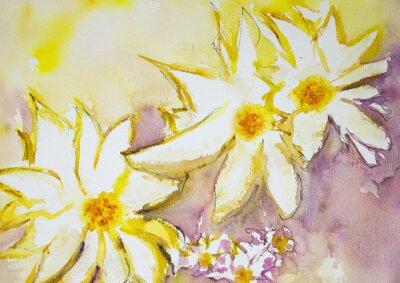 Fototapete Eindruck von wilden Blumen gegen einen gelben und roten Hintergrund. Die dabbing-Technik in der Nähe der Kanten ergibt einen Weichfokus-Effekt aufgrund der veränderten Oberflächenrauhigkeit des Papier