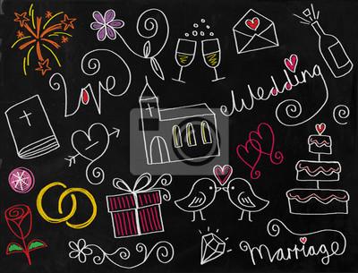 Eine digital erstellte Tafel mit einem Satz von Hand gezeichnet doodle Hochzeit Symbole.