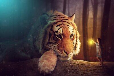 Fototapete Eine Fantasy-Welt - eine Frau und ein Riesen-Tiger