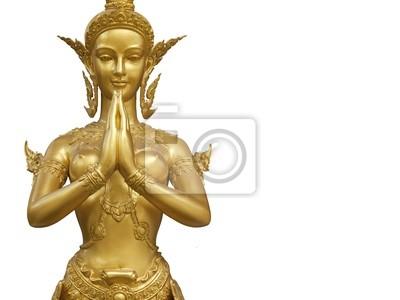 Eine goldene Statue Kinnari demonstrieren Sawaddee Aktion