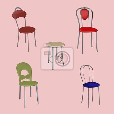 Fototapete Eine Gruppe Von Freistehenden Modernen Design Stühle Auf Einem  Rosa Hintergrund