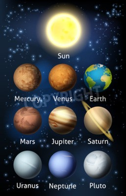 Fototapete Eine Illustration der Planeten des Sonnensystems