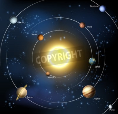 Fototapete Eine Illustration unseres Sonnensystems mit allen offiziellen Planeten plus Pluto.