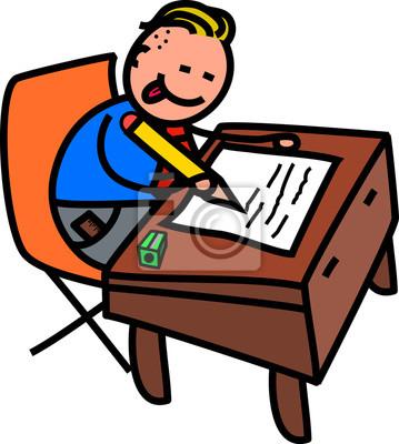 Eine niedliche Gekritzelzeichnung eines glücklichen kleinen Jungen in der Schuleuniform, die an einem Schreibtisch schreibt.