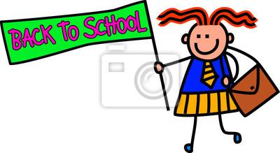 Eine niedliche Gekritzelzeichnung eines glücklichen kleinen Mädchens in der Schuluniform, die ein ZURÜCK ZU SCHULEzeichen hält.