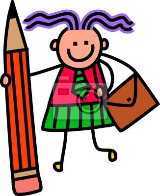 Eine niedliche Gekritzelzeichnung eines glücklichen kleinen Mädchens in der Schuluniform, die einen riesigen Bleistift anhält.