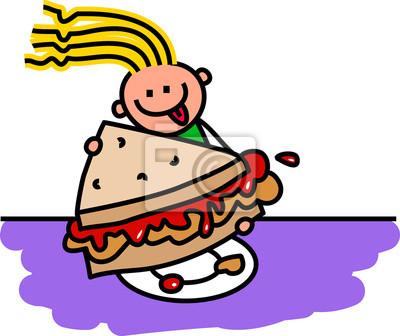 Eine niedliche Gekritzelzeichnung eines glücklichen kleinen Mädchens saß zum Tisch, der eine Erdnussbutter- und Geleesandwich für das Mittagessen isst.