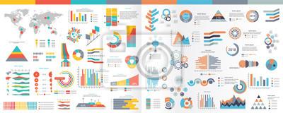 Fototapete Eine Sammlung von Infografik-Elementen Illustration in einem flachen Stil