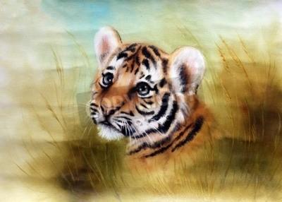 Fototapete Eine schöne Airbrush-Malerei eines adorable Baby-Tiger-Kopf aus einem grünen Gras Umgebung