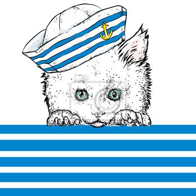d9630faa5ccd4 Fototapete Eine schöne Katze in Seemann Kleidung. Vektor-Illustration. Tier  in Kleidung und