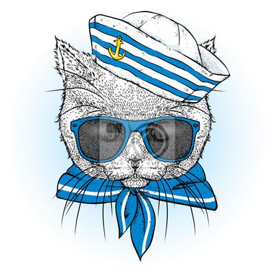 42e42ffa5dee3 Fototapete Eine schöne Katze in Seemannskleidung. Vektor-Illustration. Tier  in Kleidung und Accessoires