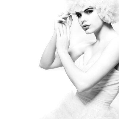 Fototapete Eine schöne sexuelle Mädchen in einem Hochzeitskleid, Hochzeitsdeco