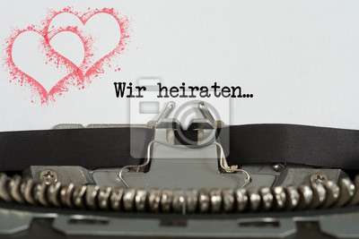 Fototapete Eine Schreibmaschine Und Die Einladung Zu Einer Hochzeit