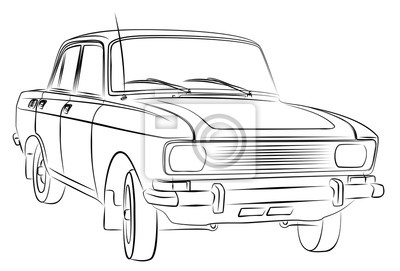 Eine skizze des alten retro- autos. fototapete • fototapeten PKW ...